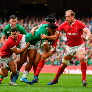 SUPERB: Bundee Aki takes on the Welsh defence. Photo: SPORTSFILE
