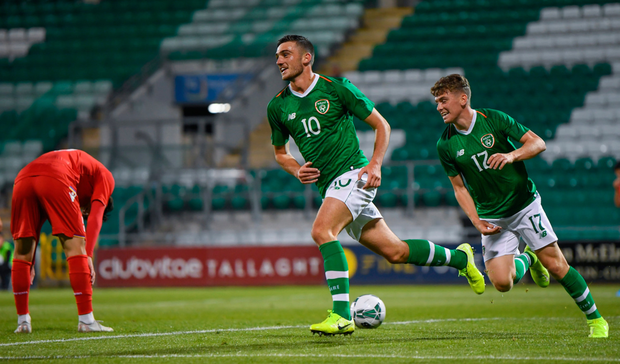 REAL TALENT: Troy Parrott of Republic of Ireland celebrates after scoring against Armenia during the European U21 Championship Qualifier at Tallaght Stadium. Photo: SPORTSFILE