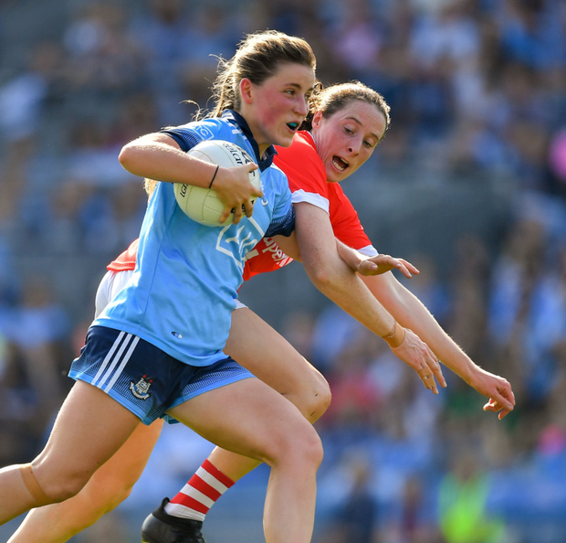 Aoife Kane of Dublin in action against Cork during the TG4 All-Ireland Ladies Football Championship semi-final at Croke Park