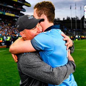 Dublin manager Jim Gavin and Jack McCaffrey celebrate after Saturday's All-Ireland final win over Kerry at Croke Park