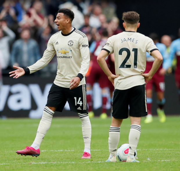 Manchester United's Jesse Lingard reacts after West Ham United's second goal at London Stadium on Sunday