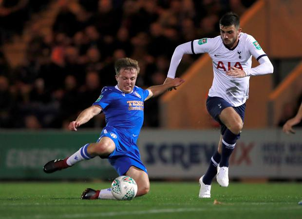 DEBUT: Tottenham Hotspur's Troy Parrott in action against Colchester last night. Photo: Action Images via Reuters