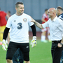 OLD FRIENDS: Temur Ketsbaia with Republic of Ireland goalkeeper Shay Given during Euro 2016 Qualifer, in Tbilisi. Pic: Sportsfile
