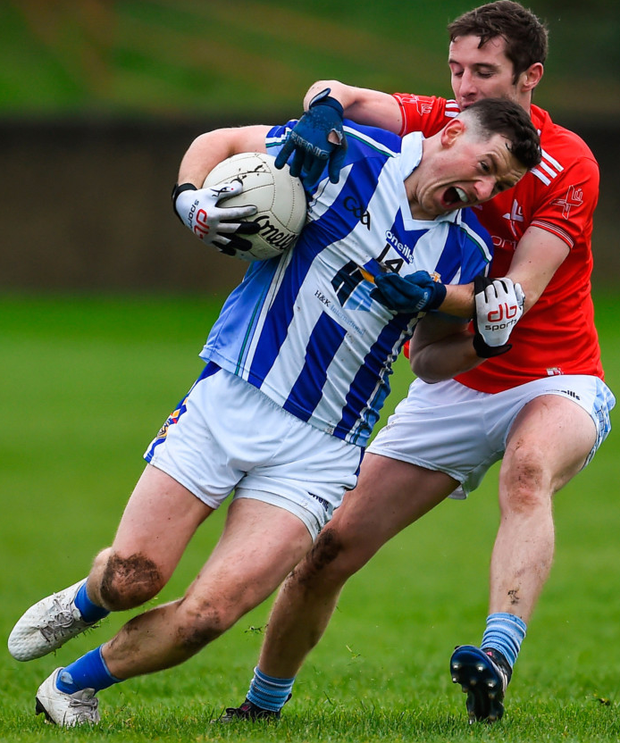 Ryan Basquel of Ballyboden St Enda's in action against Kevin Carr of Newtown Blues during the AIB Leinster Club SFC quarter-final at Gaelic Grounds in Drogheda. Photo: Sportsfile