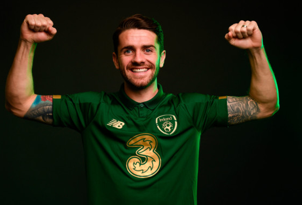 Robbie Brady poses for a portrait at the Republic of Ireland team hotel in Dublin