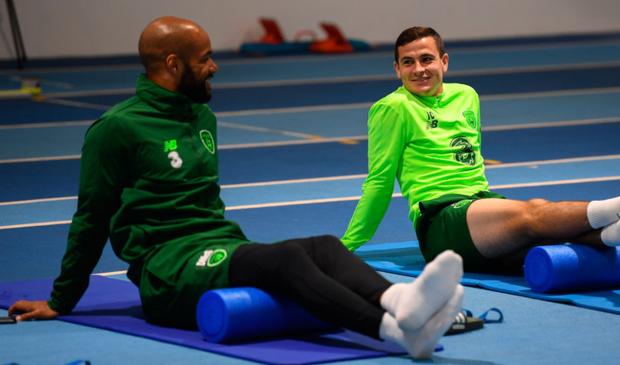 Josh Cullen and David McGoldrick (left) during a Republic of Ireland gym session ahead of tonight's clash with Denmark.