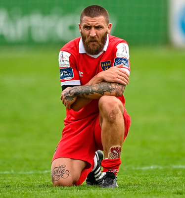 Gary Deegan of Shelbourne following his side's defeat in the Airtricity League match against Waterford at Tolka Park