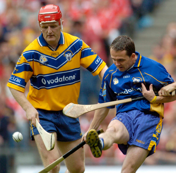 To the Banner born: The unravelled friendship of former team-mates Brian Lohan and Davy Fitzgerald (here playing together in 2005) saw the pair forgo the customary post-match handshake in February. Their teams collide again on Saturday. SPORTSFILE