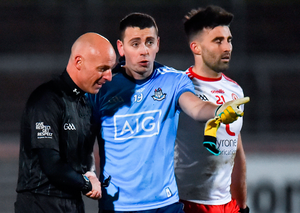 Cormac Costello of Dublin in conversation with referee Cormac Reilly after Saturday's game in Omagh