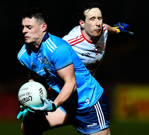 Brian Howard of Dublin in action against Colm Cavanagh of Tyrone during the Allianz Football League Division 1 match at Healy Park in Omagh