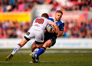 Leinster's Ian Madigan is tackled by Paddy Jackson of Ulster during the Guinness PRO12 match at Kingspan Stadium. Pic: Sportsfile