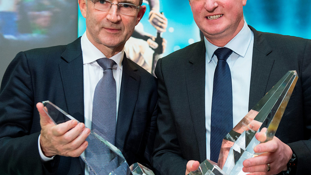 Republic of Ireland manager Martin O'Neill (left) and Northern Ireland manager Michael O'Neill, who were jointly presented with the Philips Manager of the Year Award yesterday