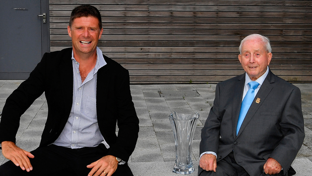 Former player, referee and Republic of Ireland kit manager Charlie O'Leary has been announced as the 21st recipient of the Special Merit Award award, pictured with FAI Deputy Interim CEO Niall Quinn during the 3 FAI International Awards presentation at the FAI Headquarters in Abbotstown