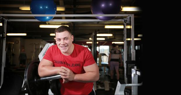 Tadgh McElroy in the gym in Dundalk. Pic: David Conachy