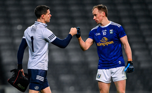 Game over: Stephen Cluxton of Dublin and Martin Reilly of Cavan fist bump after the All-Ireland SFC semi-final at Croke Park
