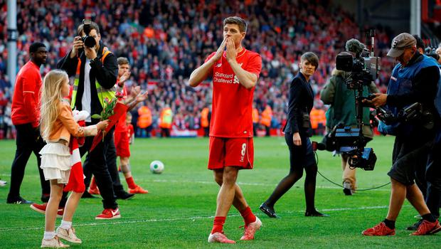 Former Liverpool captain Steven Gerrard intends to hang up his boots and become a manager Photo:Reuters