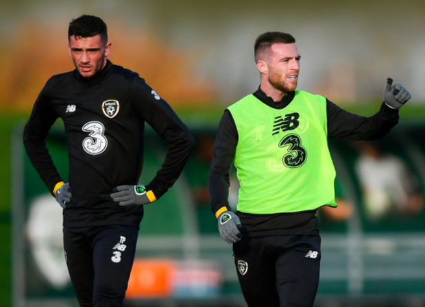 Jack Byrne (right) and Troy Parrott during a Republic of Ireland training session at the FAI National Training Centre in Abbotstown. Photo: Sportsfile