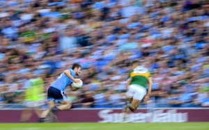 BLUR IN BLUE: Jack McCaffrey in action for Dublin against Kerry during last September's All-Ireland SFC Final Replay at Croke Park. Pic: Sportsfile