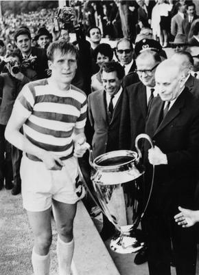 MAGIC MOMENT: Billy McNeill receives the European Cup from the President of Portugal in 1967. Pic: Getty