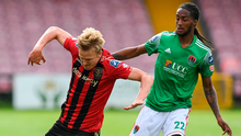 Kris Twardek of Bohemians in action against Deshane Dalling of Cork City