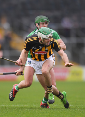 Kilkenny's Paddy Deegan in action against Robbie Hanley of Limerick when the sides met in the Allianz Hurling League at Nowlan Park