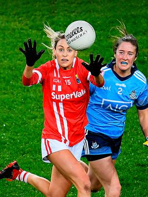 FIRST UP: Cork's Orla Finn gets ahead of Dublin's Éabha Rutledge during the Lidl Ladies National Football League Division 1 Round 3 match at Croke Park on Saturday. Photo by Stephen McCarthy/Sportsfile