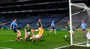 Dean Rock of Dublin shoots to score his side's first goal during the Leinster GAA Football Senior Championship Final match between Dublin and Meath at Croke Park in Dublin. Photo: Sportsfile