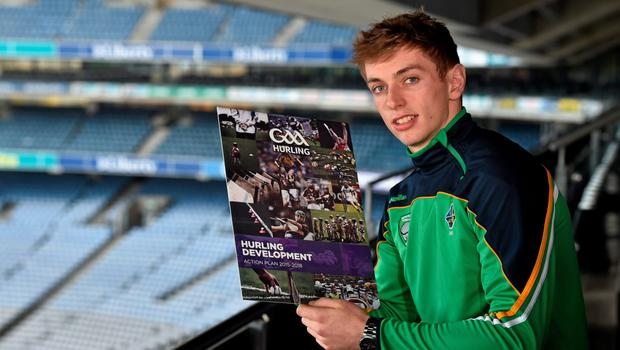 Clare hurler David McInerney at yesterday's Hurling Development Committee action plan launch in Croke Park.