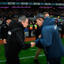 ALL SQUARE: Rival managers Peter Keane and Dessie Farrell shake hands after Saturday's stalemate. Pic: Sportsfile