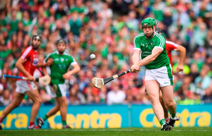 SPOT ON: Limerick's Shane Dowling expertly converts from the penalty spot in extra-time of yesterday's All-Ireland SHC semi-final at Croke Park. Photo: SPORTSFILE