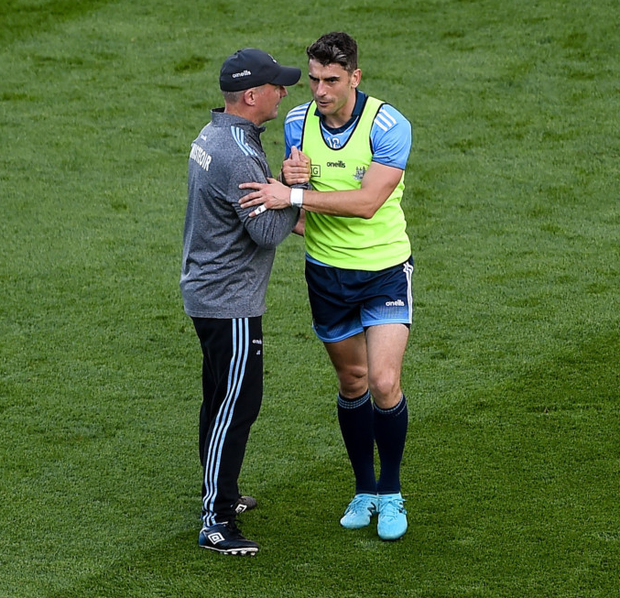 LAST HURRAH: Dublin manager Jim Gavin shakes hands with Bernard Brogan ahead of the All-Ireland SFC final replay against Kerry last September. Pic: Sportsfile