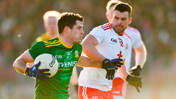 KEY MEN: Meath's Donal Keogan in action against Tyrone's Darren McCurry in Healy Park, Omagh yesterday. Pic: Sportsfile