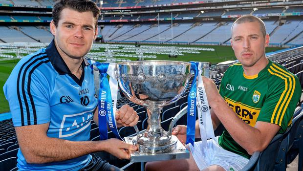 At the launch of the 2016 Allianz Football Leagues were Dublin's Kevin McManamon and Kerry's Kieran Donaghy. Allianz and the GAA recently announced a five-year extension of their sponsorship. This Saturday night Division 1 champions Dublin face Kerry under lights in Croke Park. Photo: Sportsfile