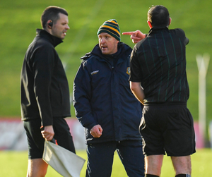 Meath manager Andy McEntee is ordered to leave the Páirc Tailteann pitch by referee Seán Hurson during his team's FL Division defeat to Mayo in Navan earlier this month
