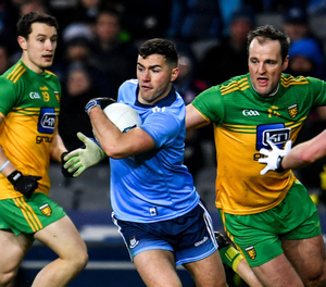 Dublin's Colm Basquel in action against Donegal's Michael Murphy during the Allianz Football League Division 1 Round 4 match at Croke Park last February