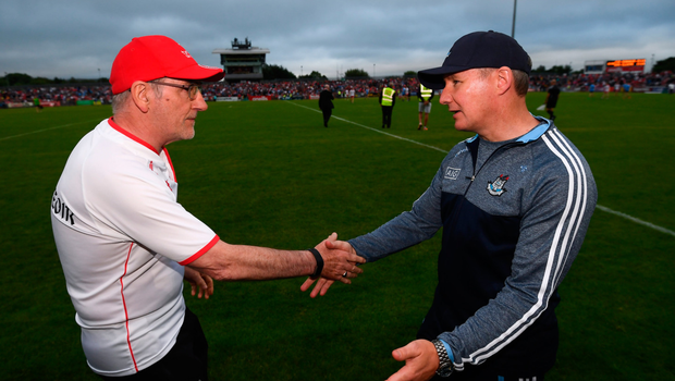 Jim Gavin and Mickey Harte shake hands after Dublin's second win in Omagh last year in July