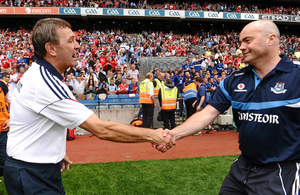 ONE THAT GOT AWAY: Cork manager Jimmy Barry Murphy shakes hands with Dublin manager Anthony Daly after the game. Pic: Sportsfile