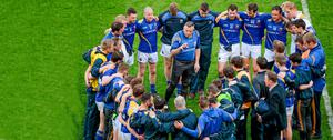 Jack Sheedy addresses his players after the game