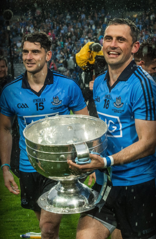 Alan and Bernard with the Sam Maguire after the 2015 victory over Kerry.