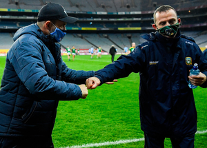 Dublin manager Dessie Farrell and Meath's Andy McEntee after the final whistle