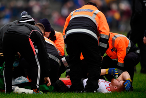 BLOW: Cathal McShane receives treatment prior to being stretchered off against Galway. Photo: David Fitzgerald/Sportsfile