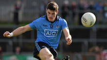 Dublin's Diarmuid Connolly kicks the winning point against Tyrone during the Allianz Football League, Division 1, Round 7, match at Healy Park, Omagh in April 2014