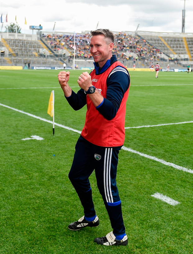 Laois manager Eddie Brennan celebrates after the Joe McDonagh Cup Final win over Westmeath at Croke Park