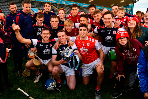 WINNING FEELING: Seán Moran (5) celebrates with his Cuala team-mates after their Dublin success at Parnell Park. Photo: SPORTSFILE