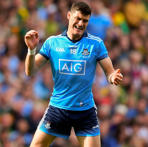 Diarmuid Connolly of Dublin reacts after kicking a wide late in the second half during Sunday's All-Ireland Football Final at Croke Park
