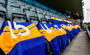Castleknock jerseys, including that of Tommy McDaniel, 15, are laid out in the stand ahead of the Dublin SFC match between Kilmacud Crokes and Castleknock at Parnell Park on Saturday