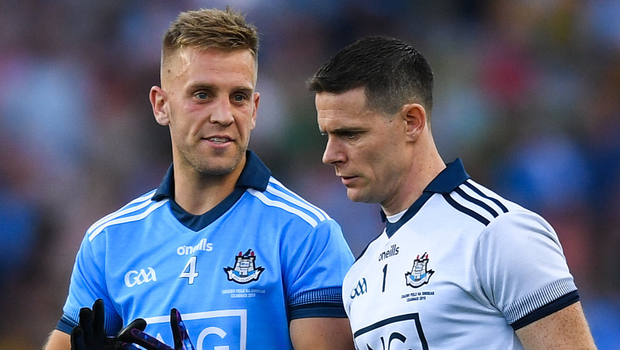 Jonny Cooper (left) and Stephen Cluxton after the All-Ireland SFC Final replay win over Kerry at Croke Park in September