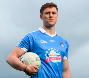 Good cause: John Small at the launch of AIG Insurance's Dublin GAA jersey takeover. Children's charity Aoibheann's Pink Tie's logo will appear on Dublin GAA jerseys for upcoming football, ladies' football and camogie fixtures this summer. Photo: Sportsfile