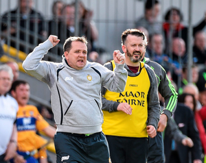Clare manager Davy Fitzgerald with selector Donal Óg Cusack. Photo: Sportsfile