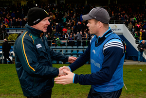 Donegal manager Declan Bonner (left) with Dublin manager Dessie Farrell after the game. Photo: Sportsfile